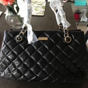 Kate Spade bag - black quilted canvas, sparkle